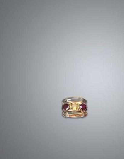 Suzanne BELPERRON Un clip en or jaune, 18K 750‰, composé d'un bandeau cannelé en...