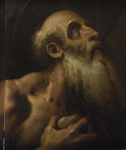 Attribué à Daniele CRESPI (1598-1630)  Saint Jérôme  Panneau de bois tendre  49,5...