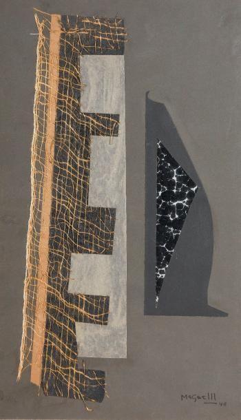 Alberto MAGNELLI (1888-1971) COMPOSITION, 1948 Collage de papier calque, papier...