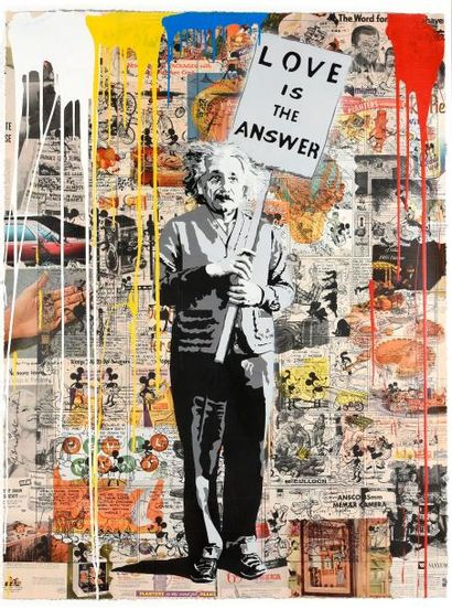 MR. BRAINWASH (1966) Einstein Acrylique et...