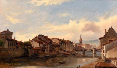 Théodore GUDIN (1802-1880) Le vieux pont de bois sur l'Isère à Grenoble, circa 1826-1827...