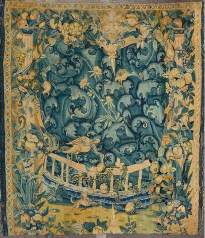 Important panneau de tapisserie d'ENGHIEN (Flandres), dite feuilles de choux En...