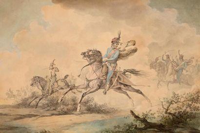 Horace VERNET (Paris 1789 – 1863) La charge des hussards Plume et encre grise, aquarelle...