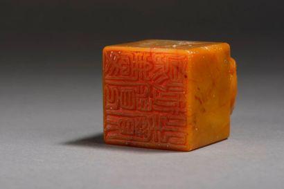 Cachet en stéatite de couleur jaune, la prise en forme de chimère, la matrice gravée...