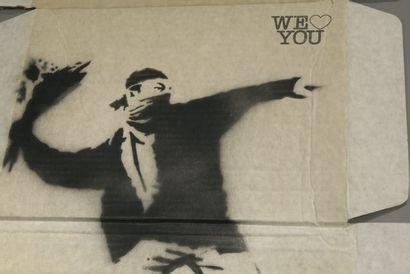 BANKSY (1974) Love Is In The Air, Flower thrower, 2000 Pochoir sur carton, signé...
