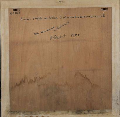 FRANÇOIS MORELLET (1926-2016) 8 LIGNES D'APRES LES LETTRES S-0-U-R-D-I-L-L-E,1983...