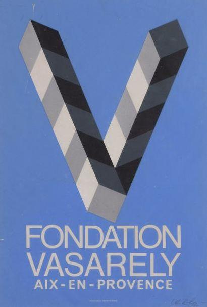 Victor VASARELY (1906-1997) Projet d'affiche pour la fondation Vasarely, en Provence...