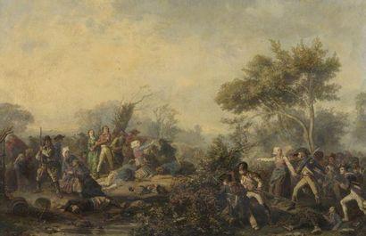 Jean SORIEUL (1824-1871) L'insurrection des Chouans Huile sur toile, signée et datée...