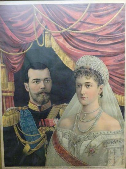 Catherine et Nicolas II de Russie Chromolithographie...