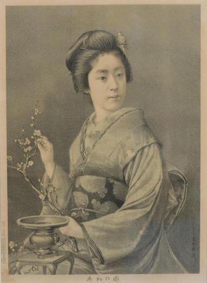 Jeune femme en kimono Lithographie. Ideogrammes...