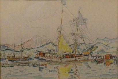 Paul SIGNAC (1863-1935) Voiliers à Ajaccio...