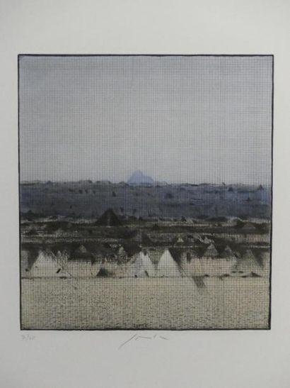 Pravoslav SOVAK (1926) Blue mountains Estampe...