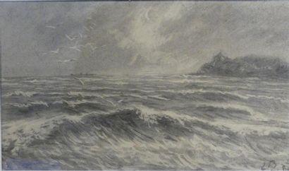 Ecole du XIXème siècle Bord de mer Fusain...