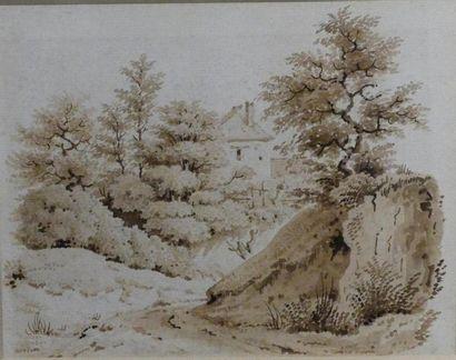 Victor PETIT (1817-1871) Paysage à la chaumière...