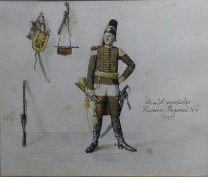 Fritz WERNER. Grenadier de régiment. Aquarelle...
