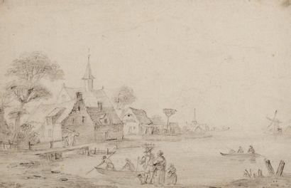 Ecole HOLLANDAISE du XVIIIème siècle Pêcheurs...
