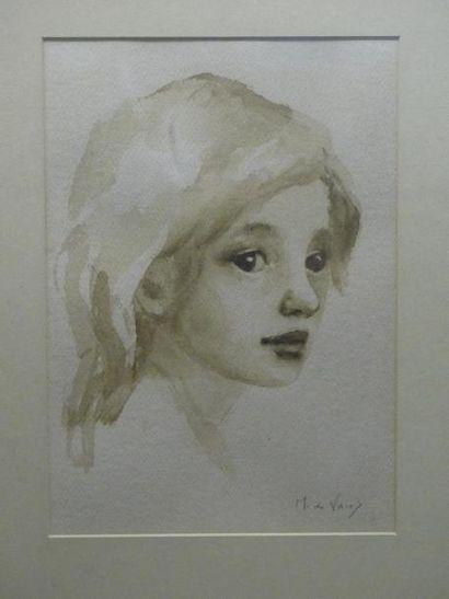 Martha De VRIES (XIX-XXè) Portrait de jeune...