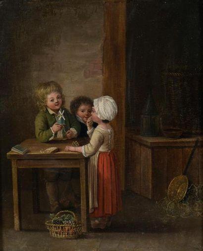 École du XIXe vers 1800 Jeune garçon au moulin miniature Huile sur panneau. 26 x...