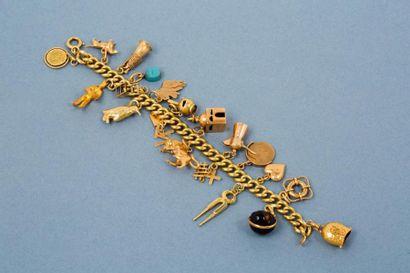 Bracelet en or jaune 18K 750‰, maille gourmette,...