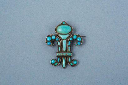 Broche en métal doré, en forme de fleur de...