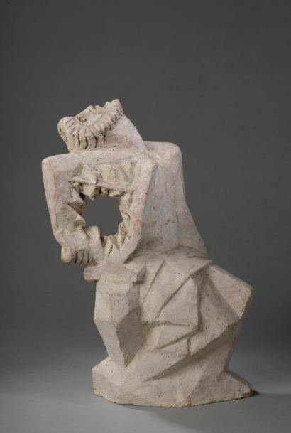 CAZAUX Édouard (1889-1974)  « La lyre ».  Sculpture en terre cuite.  Signée et...