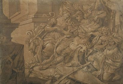 École ITALIENNE vers 1700  Allégorie  Plume...