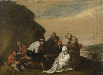 École ROMAINE du XVIIe siècle, entourage de Jan MIEL  Réunion paysanne  Toile....