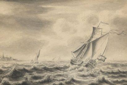 École HOLLANDAISE du XVIIIe siècle  Navire...
