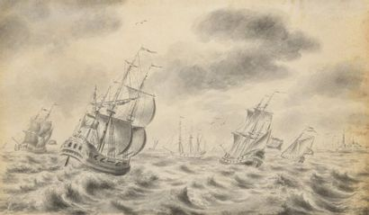 École HOLLANDAISE du XVIIIe siècle  Navires...