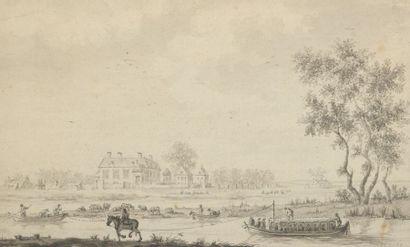 École HOLLANDAISE du XVIIIe siècle  Un château...