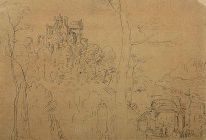 École FLAMANDE vers 1600  Paysage au château...