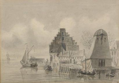 École HOLLANDAISE du XVIIIe siècle  Barques...