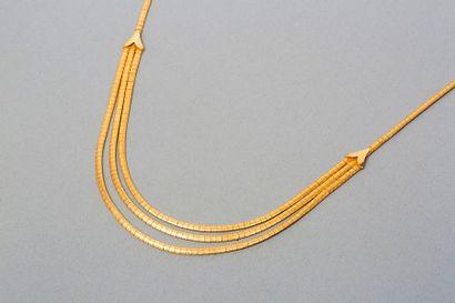 Collier draperie en or jaune 18k 750‰, chaîne...