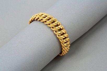 Bracelet en or jaune 18k 750‰, maille américaine,...