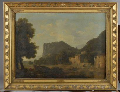 Jean Victor BERTIN (1767-1842)   Paysage à la ferme fortifiée   Huile sur toile. ...