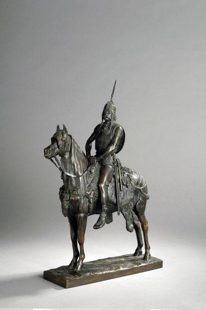 Emmanuel Frémiet (1824-1910)  Chef gaulois  Épreuve en bronze à patine brune ...