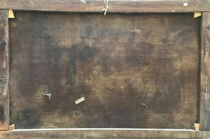 ECOLE FRANCAISE VERS 1700 Nature morte aux pièces d'orfèvrerie, draperies et au...