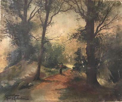 DELAMARE (XXe) Forêt de Fontainebleau Huile...