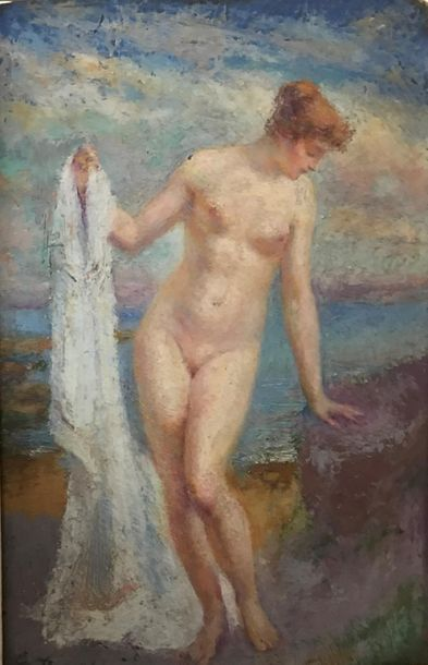 Georges ROUSSIN (1854-1941) Baigneuse Huile...