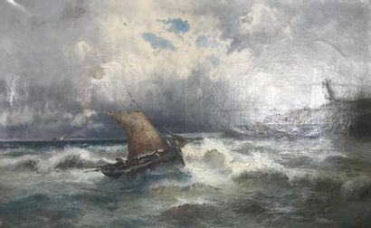 Ecole du XXeme siecle Bateau dans la tempête...