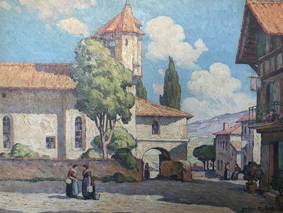 Gaston AUBERT (XXeme siècle) Place de village...