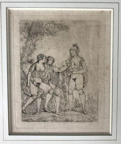 *Ecole du XVIIIe siècle Scène érotique Gravure...