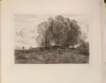 D'après Camille COROT (1796-1875) Deux paysages Gravures Signées en bas à droite...