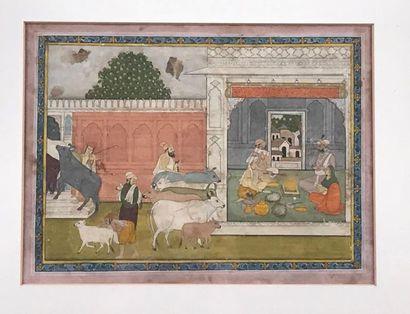 Miniature indienne représentant un couple...