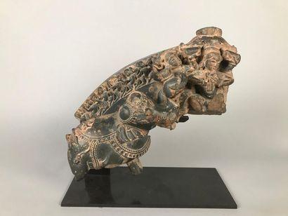 INDE Fragment de stèle représentant un éléphant...