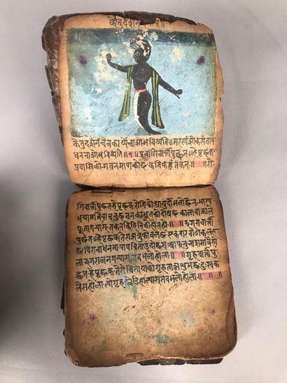 Manuscrit hindouiste de 19 pages, 19 illustrations....