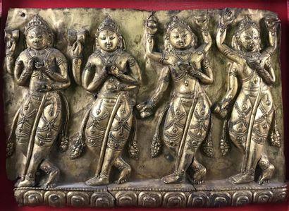 INDE Plaque en cuivre représentant quatre...