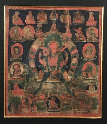 Tangkha à l'encre et couleur sur toile, Tibet,...