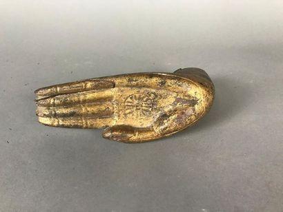 *Main de Bouddha en bois doré Thaïlande