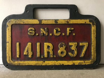 Plaque SNCF de locomotive 141R837 37 x 56...
